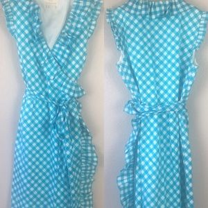 Kate Spade Blue/White Gingham Wrap Dress